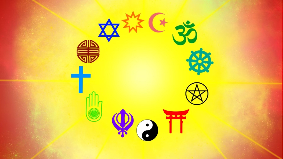 A series of different colored religious symbols in a circle. The background is a bright spot of yellow light with light rays on top of a red screen.