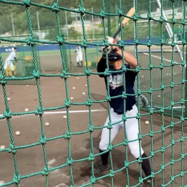 .【活動の様子】#澁谷拓磨(2年・広陵高校)のフリーバッティングです︎色々な練習方法を取り入れています︎苦戦しながら必死に練習に取り組んでいます️