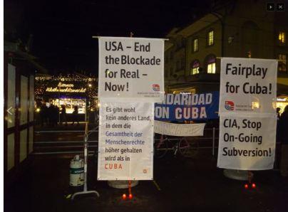 "Mahnwache ""Fairplay for Cuba"" in Bern, am 20.1.2015"