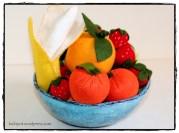 קערת פירות תפורים מלבד Felt Fruits