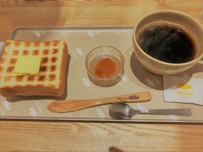 ペリカンカフェのトーストとコーヒー