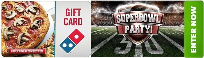 Super Bowl Dominos Pizza Party Gift Card Giveaway