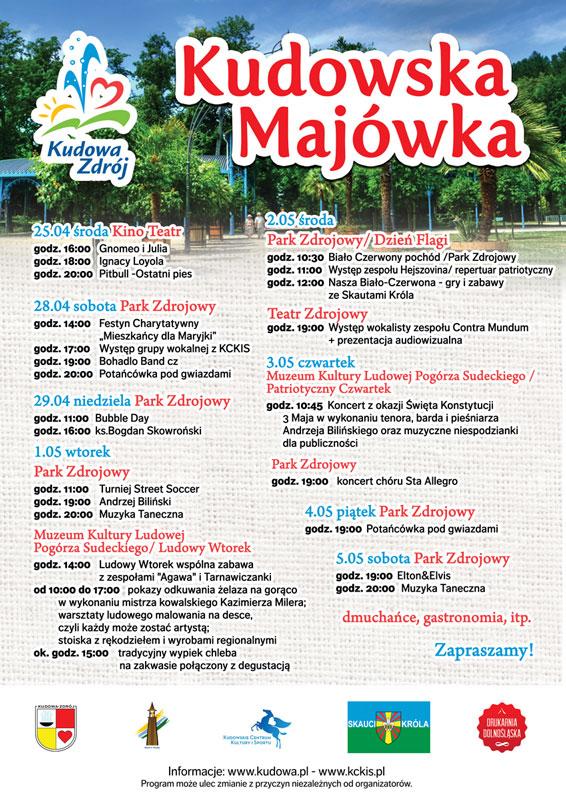 Harmonogram Majówki 2018 w Kudowie Zdroju
