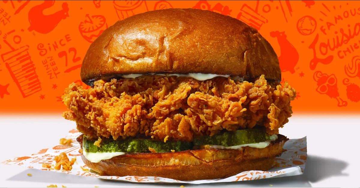 Feathers are flying over chicken sandwiches