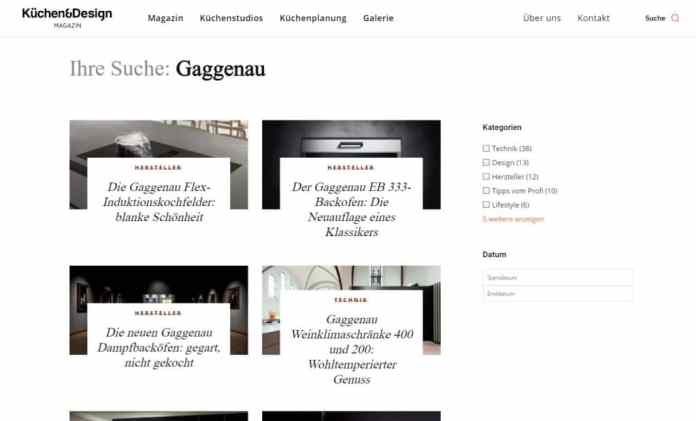 A smarter search helps you find precise keywords + kitchen studios.  (Photo: Küchen & Design Magazin)