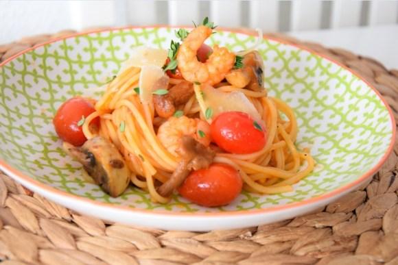 Spaghetti Garnelen Pilze B