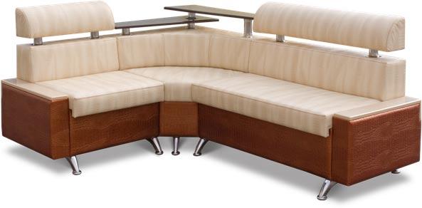 Бежевый угловой диван с полкой