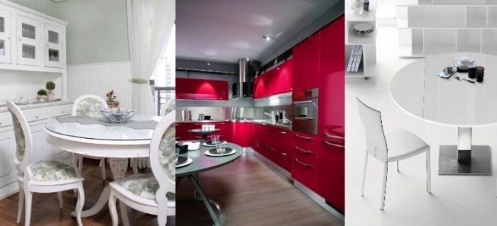 Интерьеры кухни слева направо: винтаж, хай-тек, минимализм