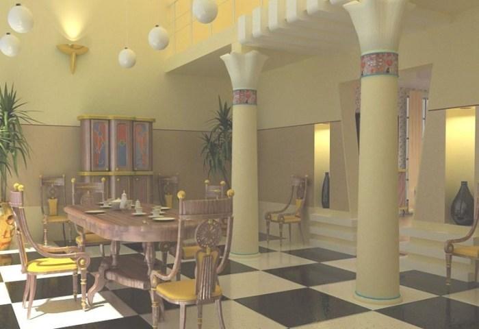 Просторная кухня в египетском стиле