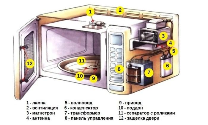 Схема устройства микроволновой печи