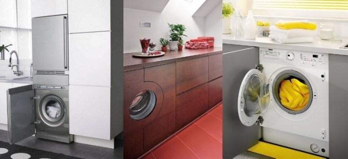 Варианты установки стиральной машины на кухне