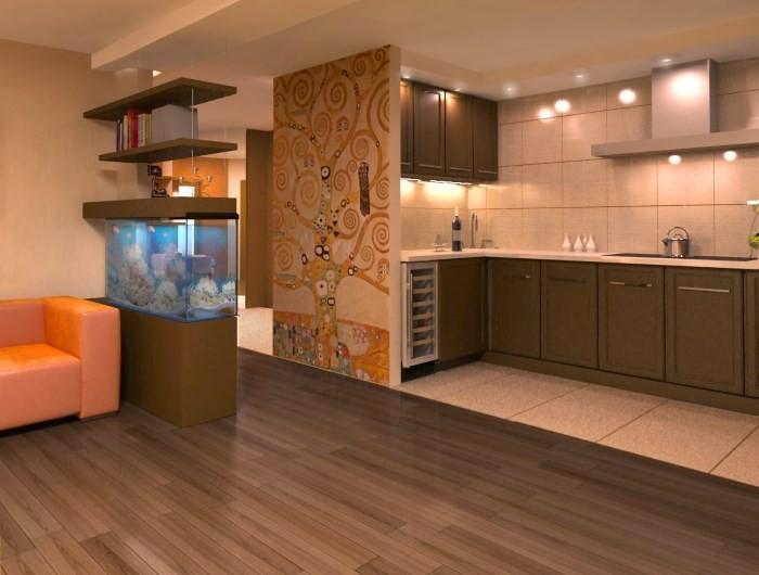 Подсветка потолка в зоне кухни