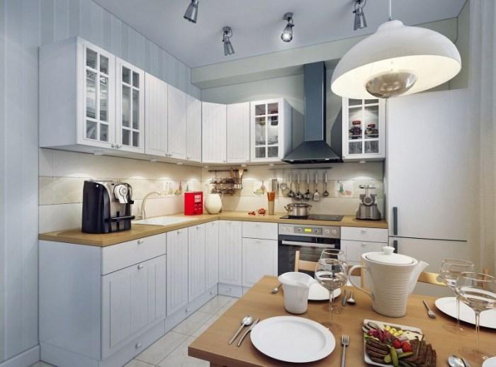 Точечные светильники в рабочей зоне г-образной кухни