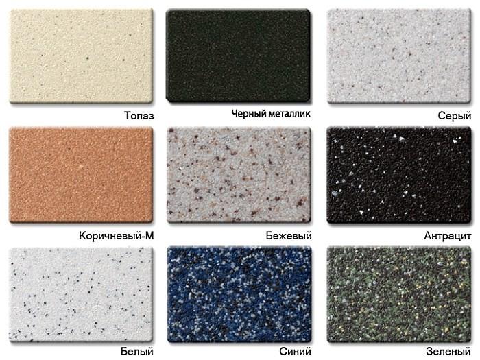 Некоторые варианты цвета гранитных моек