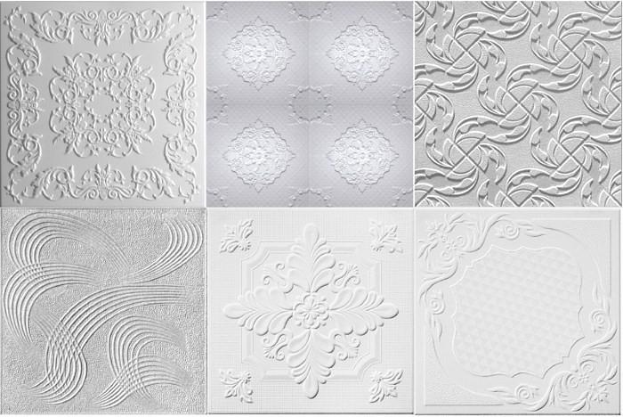 Варианты объемного рисунка на потолочной плитке