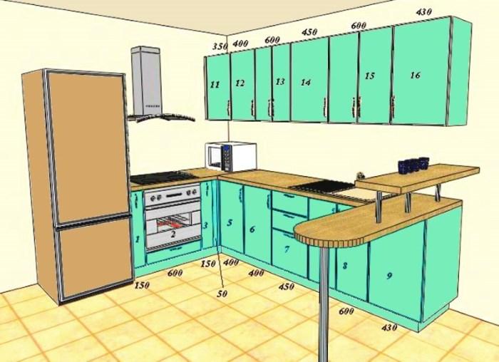 Проект кухни с размерами фасадов