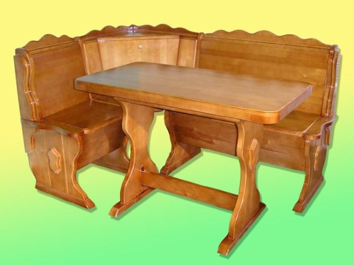 Деревянный кухонный уголок с ящиком
