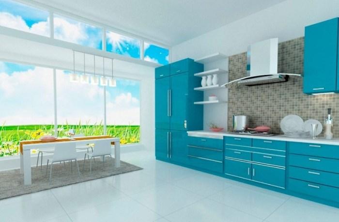 Кухня бирюзового цвета