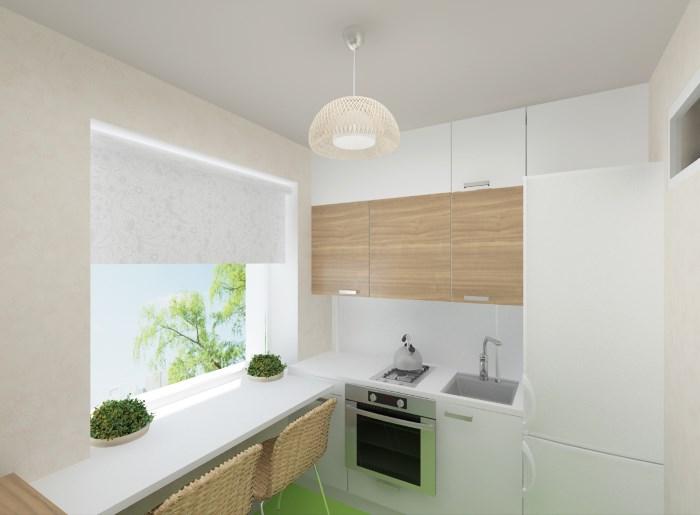 Мебель и использование подоконника в кухне 6 квадратных метров