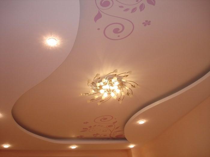 Вариант подсветки двухуровневого потолка