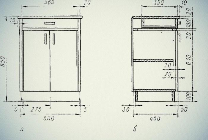 Чертеж кухонного шкафа