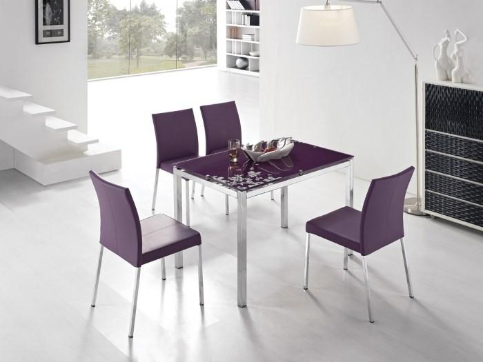 Кожаные фиолетовые стулья