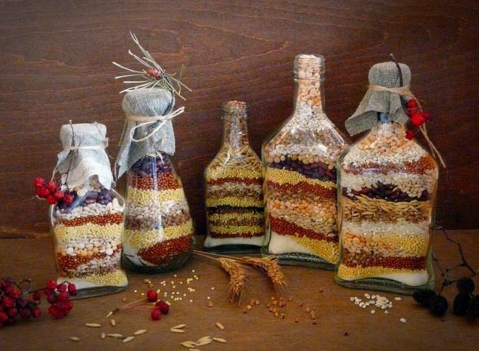 dekor-butylok-zernami Декор бутылок шпагатом своими руками