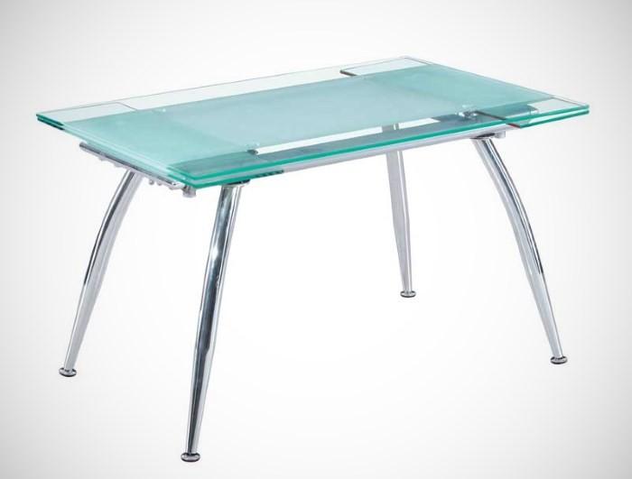 Раздвижной стол из стекла