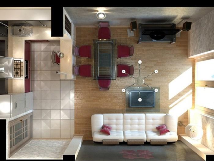 Дизайн проект 20 метровой кухни гостиной