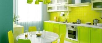 Как выгодно обыграть салатовый цвет в кухонном интерьере?