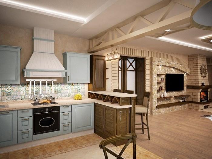 Кантри и классика в дизайне гостиной и кухни