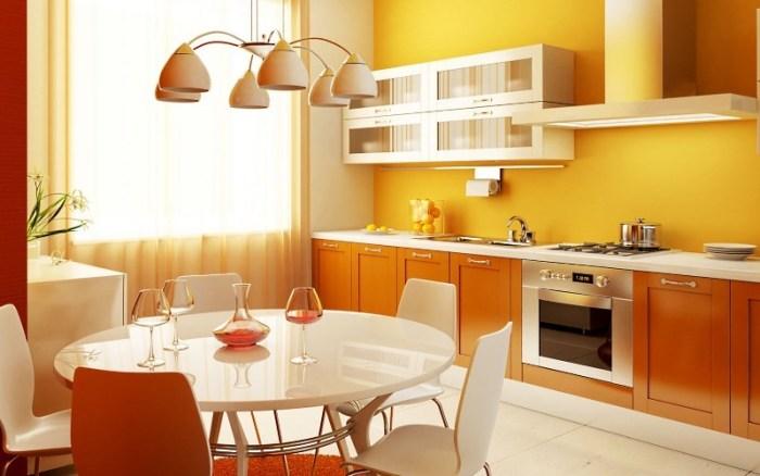 белая люстра на кухне