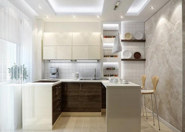 Обустройство маленькой кухни с подсветкой
