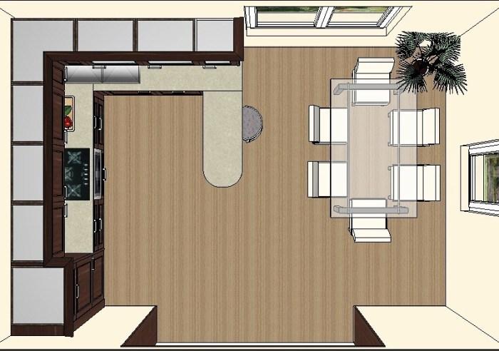 План расстановки набора мебели на кухне