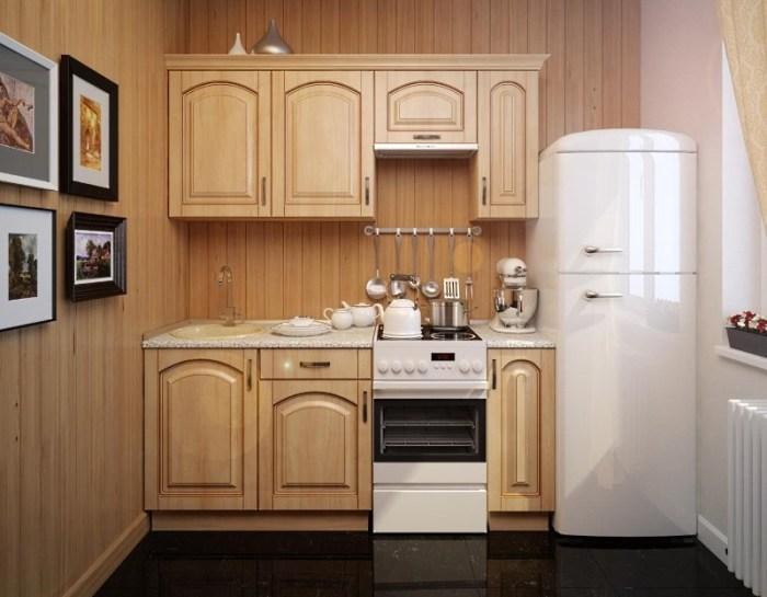 Линейный гарнитур на кухне 6 метров