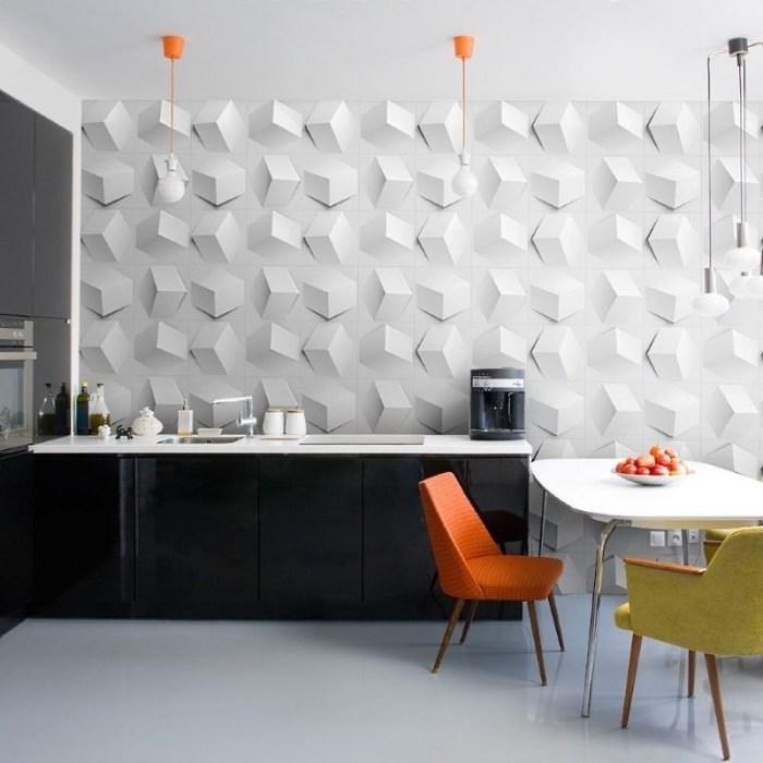 белые 3д панели в интерьере кухни