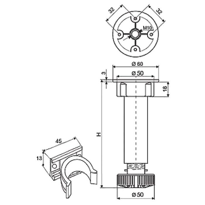 схема конструкции кухонных ножек