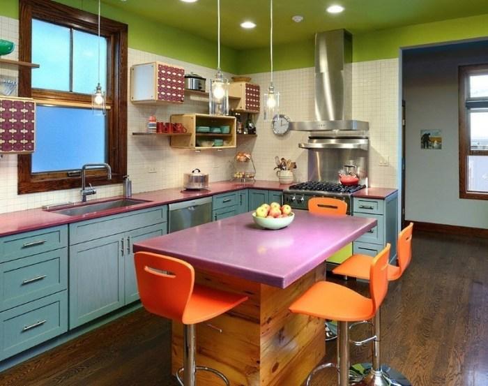 кухня 10 метров со столом островом
