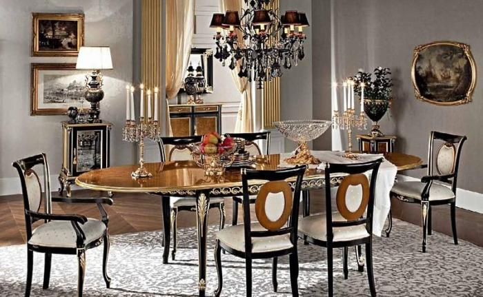 Овальная столовая мебель