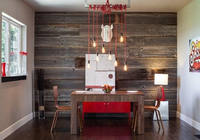 стены на кухне задекорированные под дерево