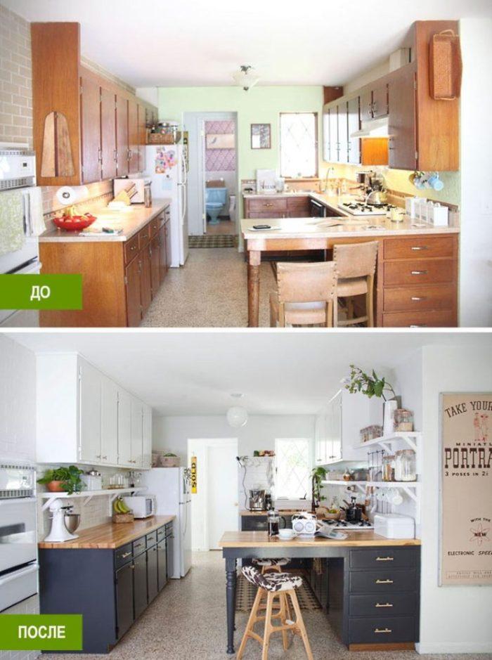 Интересные примеры кухонь до и после ремонта