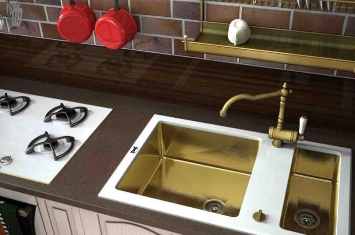 кухонная мойка из стекла и бронзы