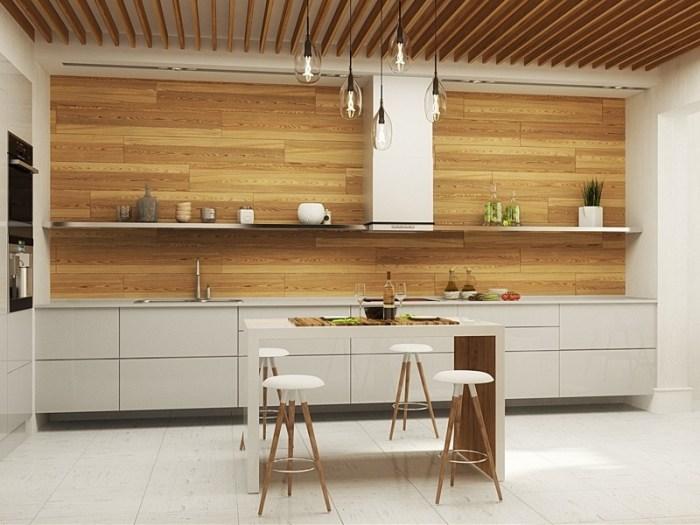 Использование дерева на кухне в стиле минимализм
