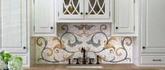 Фартук для кухни из мозаики: виды материалов, технология укладки, фотогалерея.