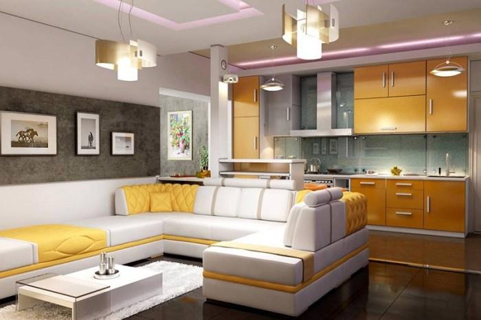 Зонирование от кухни большим диваном