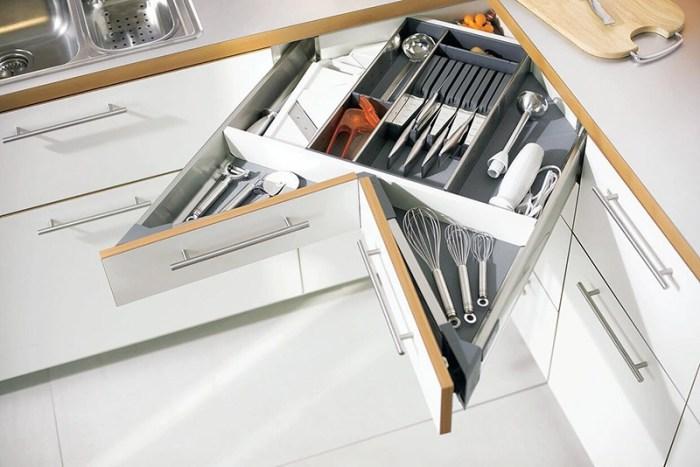 Угловые ящики для кухонных инструментов