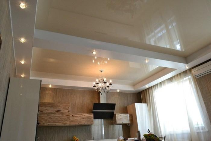 Обрамление натяжного потолка на кухне гипсокартоном