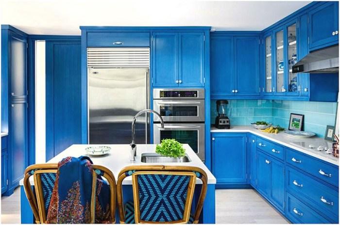 Стальная бытовая техника на синей кухне