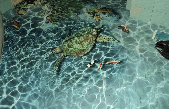 Наливной 3D-пол с изображением морской черепахи и рыб