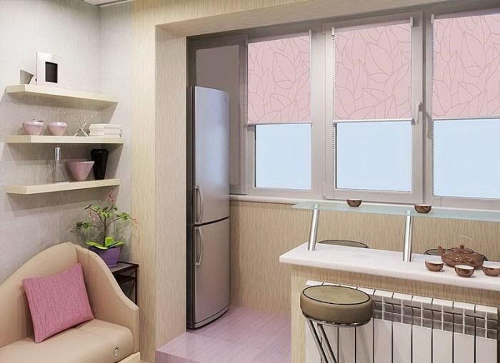 Ниша с холодильником на лоджии, совмещенной с кухней